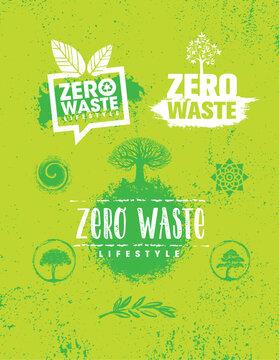Zero Waste Lifestyle. Sustainable Creative Vector Eco Green Design Element. Organic Bio Concept