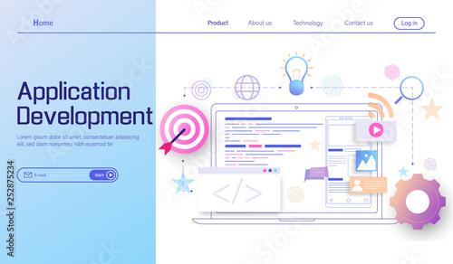 Application Development and web development modern flat design