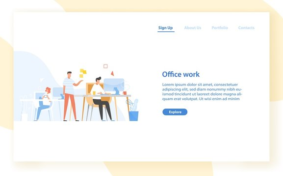 Web banner template with programmers or coders working together at office. Software development, programming or program coding. Colleagues at work. Modern flat vector illustration for website.