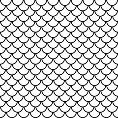 Fish scales seamless pattern, animal texture, animalistic ornament, vector background. Black and white print, graphic illustration, monochrome tracery. For fabric design, wallpaper, decoration