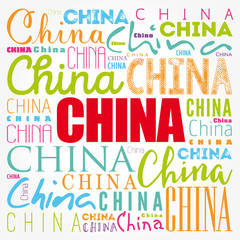 China wallpaper word cloud, travel concept background