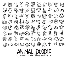 Set of animal icons Drawing illustration Hand drawn doodle Sketch line vector eps10