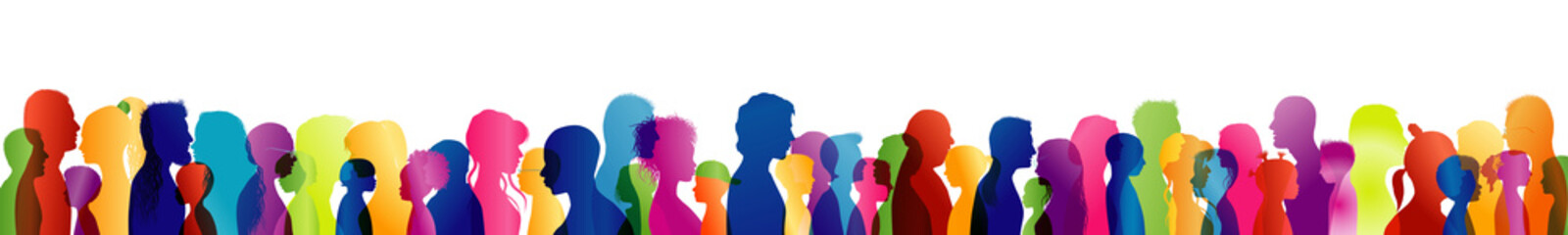 Concept of solidarity or communication between different people and of different ages and multi-ethnic. Silhouette colored profile heads. Multiple exposure. Dialogue crowd of many people