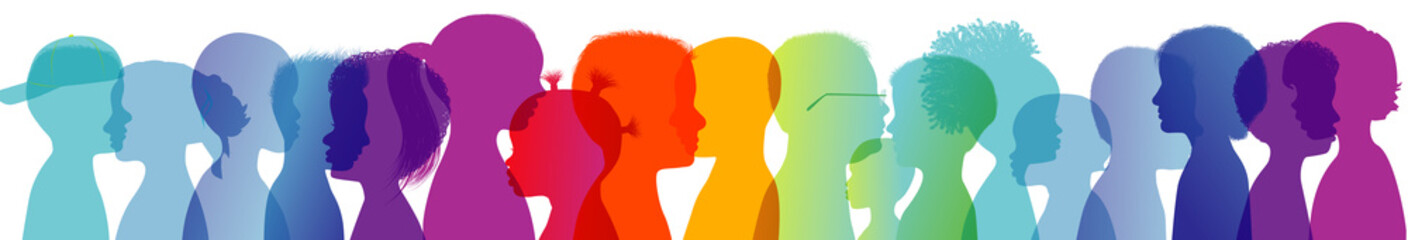 Rainbow group of modern children in colorful silhouette profile. Communication between multi-ethnic children. Children talking. Colored heads. Multiple exposure