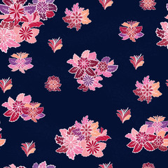 Seamless vector pattern with flowers on dark blue background