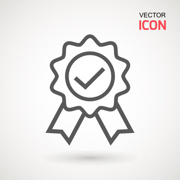 Approved or certified medal icon in a flat design. Rosette icon. Award vector.