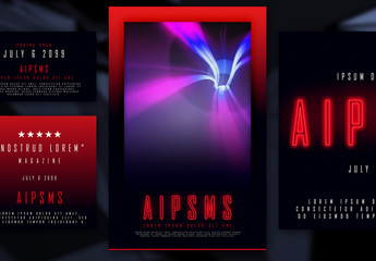 Red and Black Event Poster Layout Set with Glowing Text