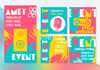 Bright Social Media Post Layout Set with Retro Designs