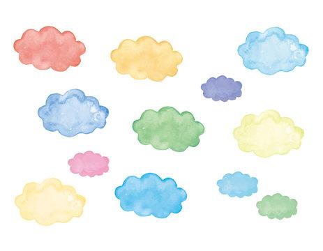 水彩 ふきだし 雲