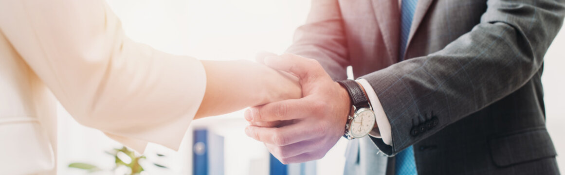 cropped view of man and woman shaking hands at office
