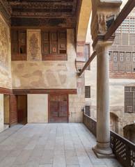 Terrace at ottoman era historic Beit El Set Waseela building (Waseela Hanem House), Old Cairo, Egypt