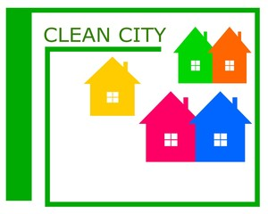 Vector drawing of a clean city logo.Vector drawing clean city pledge of health.