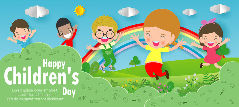 Happy children's day background, Paper cut and craft style. Paper art style, you text, Origami Vector illustration.