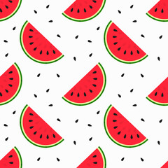 Watermelon slices and seeds seamless pattern.