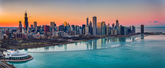 Fototapete - Beautiful Sunsets Chicago
