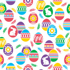 Seamless pattern with Easter eggs, flowers, leafs and rabbits over white background. Easter repeatable design. Can be used for fabric, wallpaper, pattern, web page background, scrap booking, vector