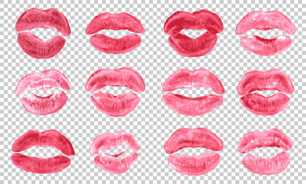 Lipstick kiss print isolated vector set pink red coral lips set different shapes female sexy lips makeup kiss mouth girl female print of lipstick kiss vector transparent background.