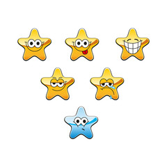 Funny cartoon star character emotions set, vector icons