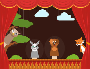 Cartoon Children Puppet Theater Background Card. Vector