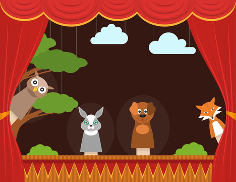 Cartoon Children Puppet Theater Background Card. Vector