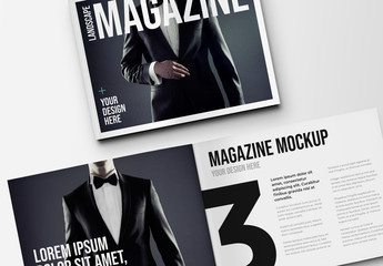 Open and Closed Landscape Magazine Mockup