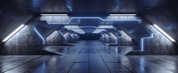 Futuristic Triangle Alien Spaceship Neon Blue White Glowing Dark Long Big Hall Corridor Tunnel Grunge Concrete Reflective Tiled Floor Elements Gates Empty Space 3D Rendering