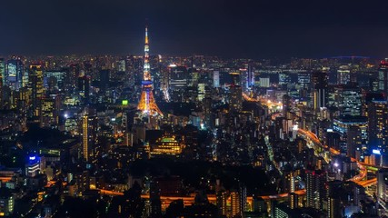 Fototapete - Time lapse of Tokyo cityscape at night.