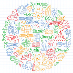 Vector set of english language, children's drawingicons icons in doodle style. Painted, colorful, pictures on a sheet of checkered paper on a white background.