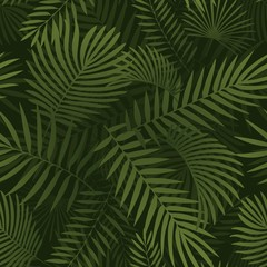Green tropical leaves. Seamless graphic design with amazing palms leaves