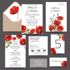 Save the date invitation. Vector wedding illustration with poppy flowers.
