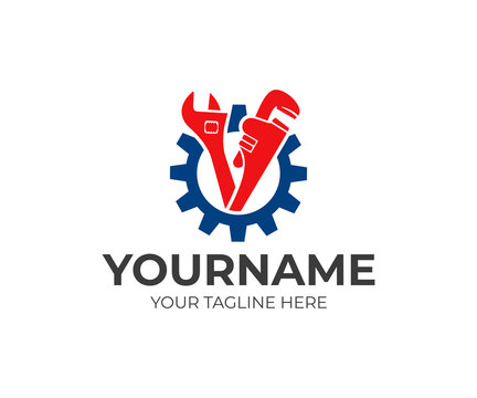 Plumbing service, gear, adjustable wrench and pipe wrench, logo design. Engineering, heavy industry and mechanical engineering, vector design and illustration