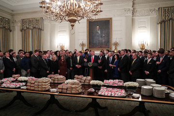 U.S. President Trump welcomes the FCS football champion North Dakota State Bison to reception in State Dining Room at the White House in Washington
