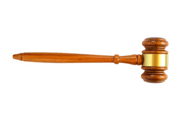 Judge's wooden gavel isolated on white background.