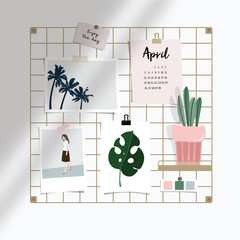 Iron mesh mood board mockup illustration. Artistic workspace still life with various taped pictures, paper cards, calendar and succulent plant in pot. Office interior. Shadow overlay. Flat vector.