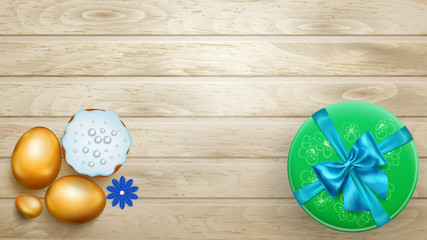 Realistic golden Easter eggs, tasty cake and beautiful gift box with bow on wooden planks