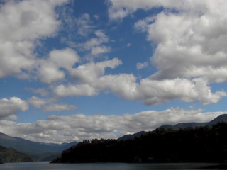 Cloud formation above a Beautiful Lake in Chile