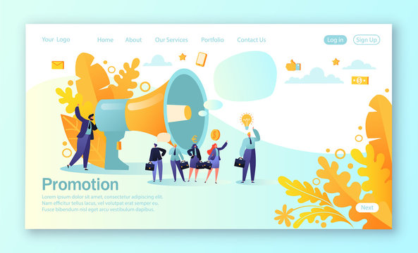 Concept of landing page for mobile website development and web page design. Concept of advertisement, marketing, promotion. Loudspeaker talking to the crowd. Business people listen to the announcement