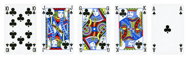 Clubs Suit Playing Cards, Set include Ace, King, Queen, Jack and Ten - isolated on white. Wall mural