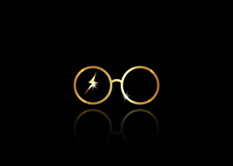icon of a golden round glasses, minimal style, vector isolated on black background
