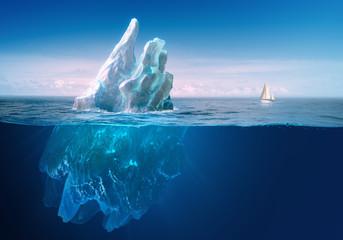 Ice in water, iceberg in blue ocean