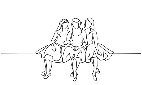 Friends girls sitting together