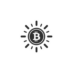 Bitcoin coin with sun ray icon in simple design. Vector illustration