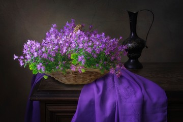 Still life with spring flower bouquet