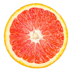 Isolated red orange fruit. Slice of fresh red orange isolated on white background with clipping path