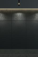 modern black interior, empty room, 3d rendering