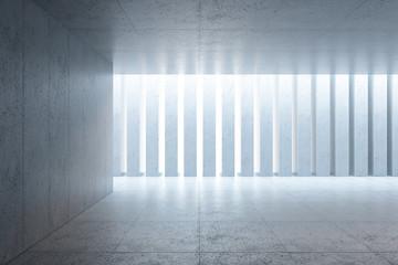 modern concrete space interior, 3d rendering