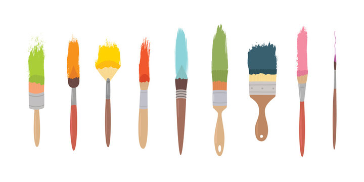 art materials, line drawing set of squirrel,bristle and synthetic brushes for painting and calligraphy, hand drawn