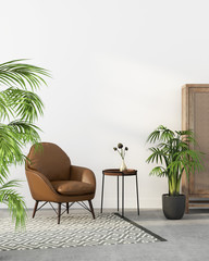 Brown leather armchair and tropical plants