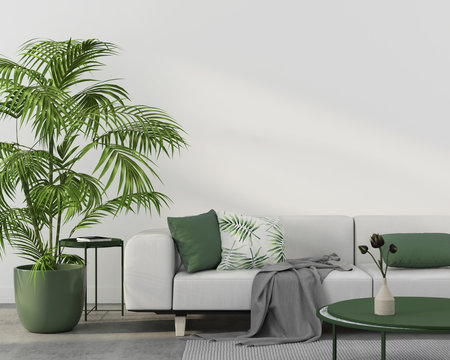 Interior with white sofa and green pillows