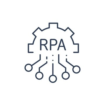 RPA robotic process automation industry. Smart technology. Vector linear icon.